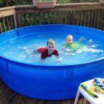 plastic pool with slide