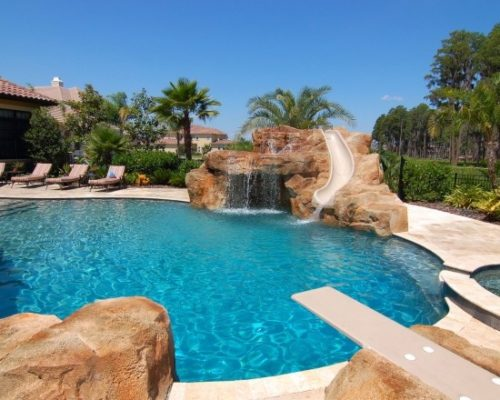 water slide pool