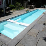 fiberglass lap pool with spa